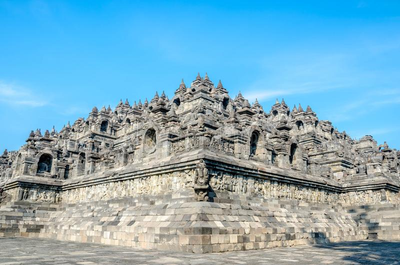 De tempel Borobudur van erfenisbuddist in Yogjakarta in Java, indones stock afbeeldingen