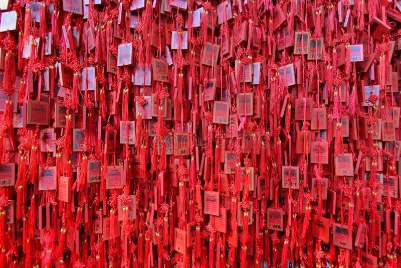 De Tempel Rode Houten Charme van Confucius stock foto