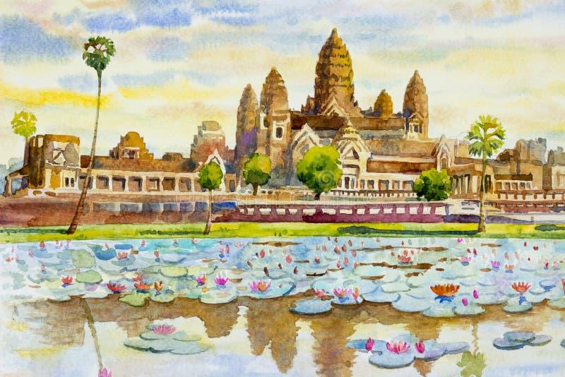 De tempel van Angkorwat, Kambodja Waterverf het schilderen landschap royalty-vrije illustratie