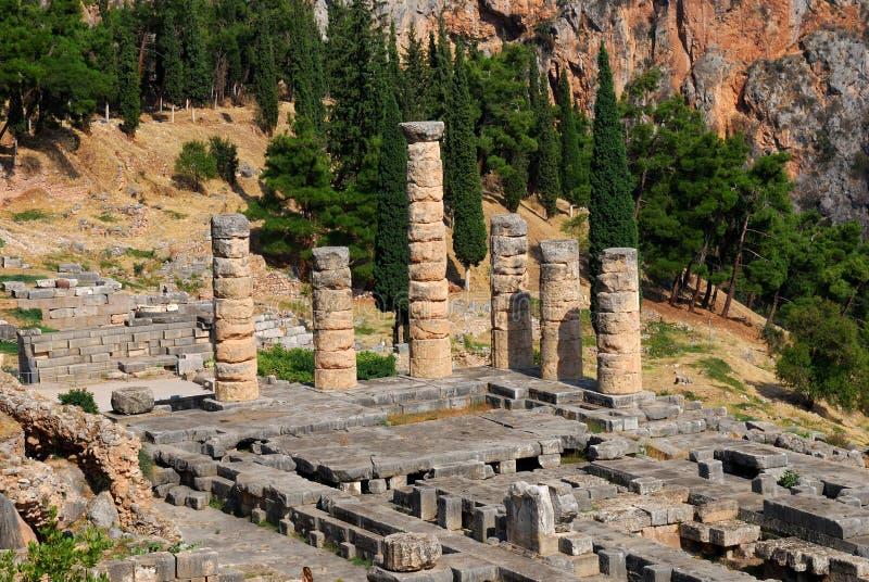 De Tempel van Apolllo van Delphi, Griekenland royalty-vrije stock foto's