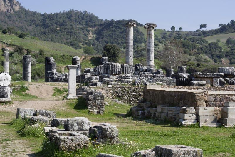 De Tempel van Artemis, Sardis, Manisa, Turkije stock foto's