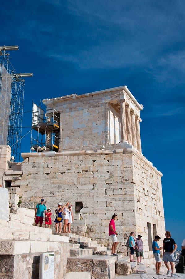 De Tempel van Athena Nike op Augustus, 2013. Athene, Griekenland. stock afbeelding