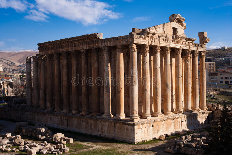 De Tempel van Bacchus stock afbeelding