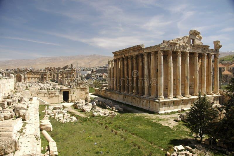 De tempel van Bacchus in Heliopolis stock afbeelding