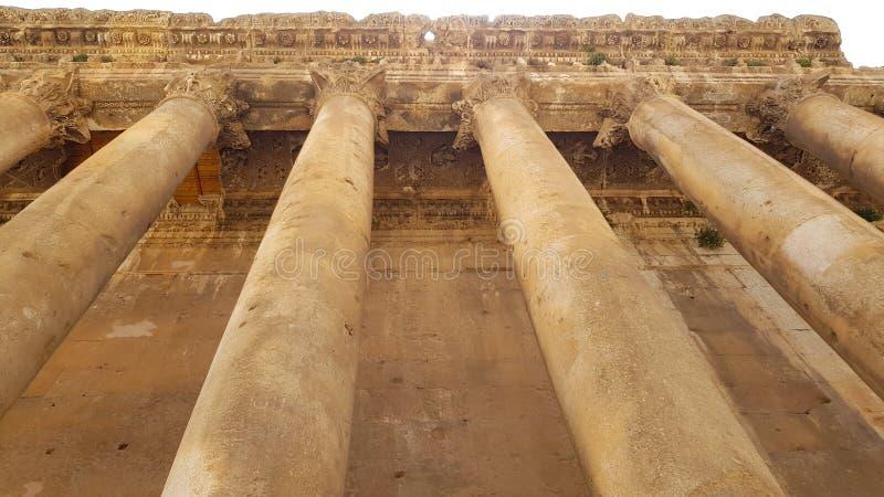 De Tempel van Bacchus De ruïnes van de Roman stad van Heliopolis of Baalbek in de Beqaa-Vallei Baalbek, Libanon stock fotografie