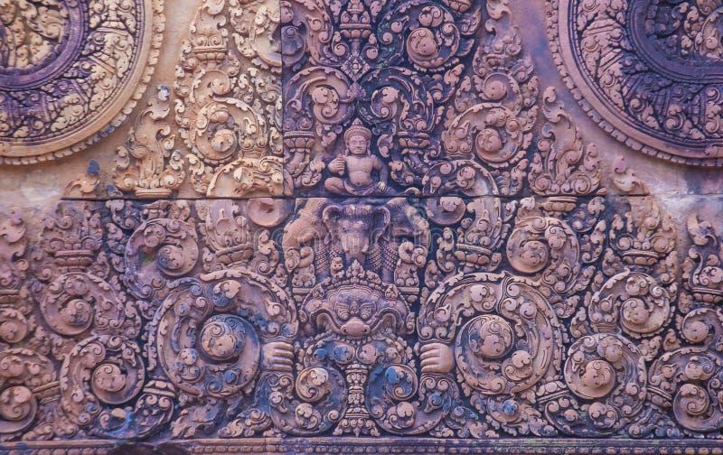 De tempel van Banteaysrei in Kambodja royalty-vrije stock foto