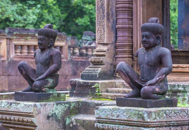 De tempel van Banteaysrei in Kambodja royalty-vrije stock afbeelding