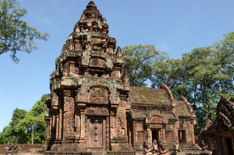 De tempel van Banteaysrei in Siem oogst royalty-vrije stock foto