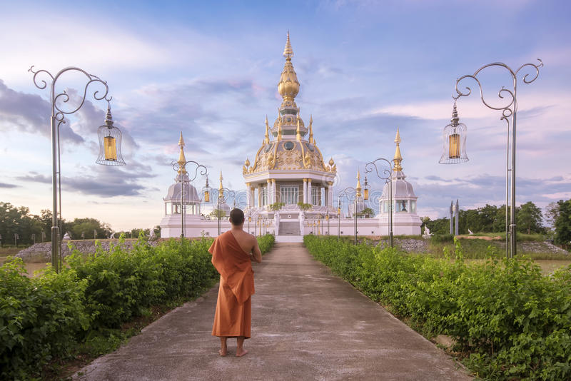 De tempel van Boedha van Thailand in lotusbloemlagune royalty-vrije stock afbeeldingen