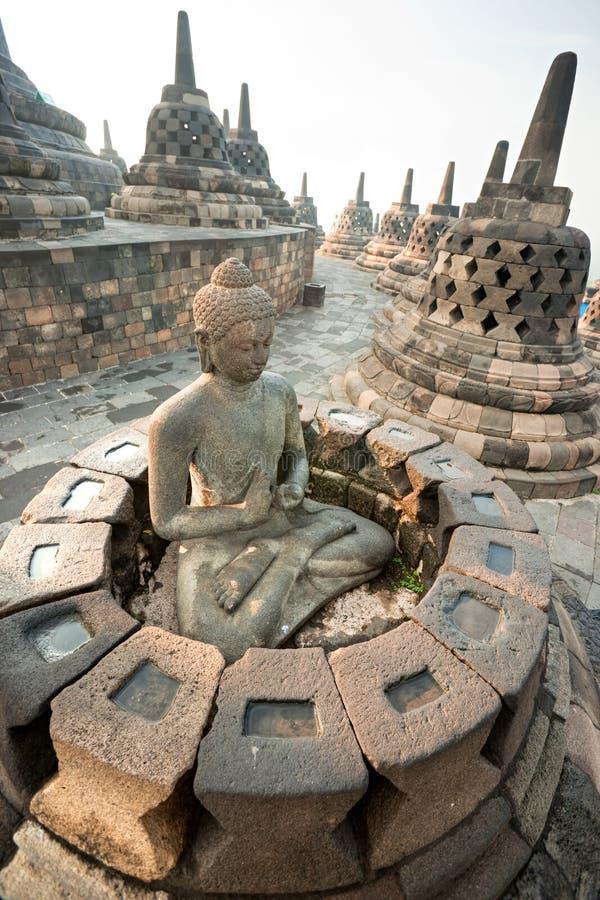 De Tempel van Borobudur, Yogyakarta, Java, Indonesië. stock foto
