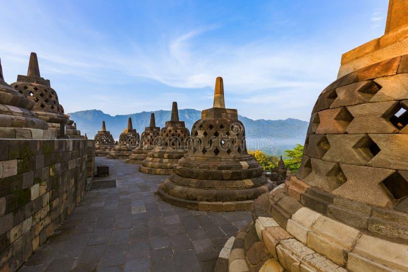 De Tempel van Borobudurbuddist - eiland Java Indonesia stock afbeeldingen