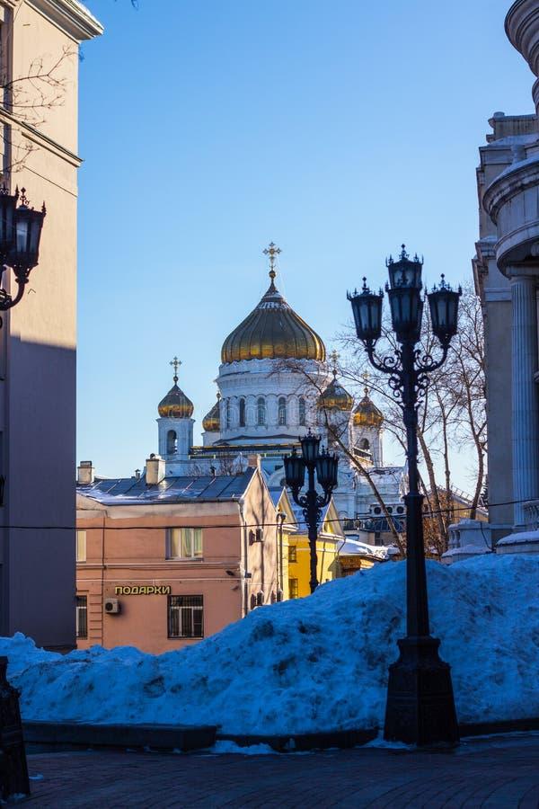 De tempel van Christus de Verlosser in Moskou, de witte kerk stock fotografie