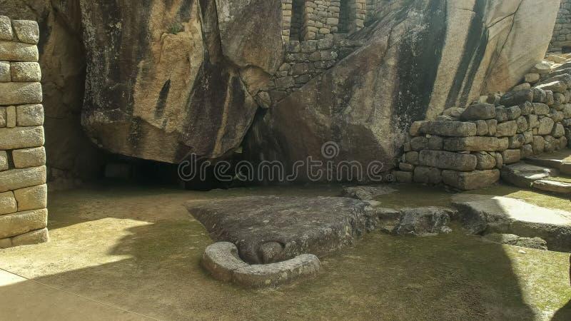 De tempel van de condor bij machupicchu royalty-vrije stock afbeelding