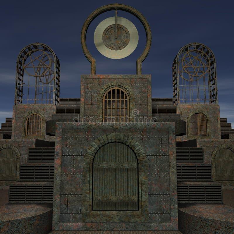 De tempel van de fantasie bij dageraad stock illustratie