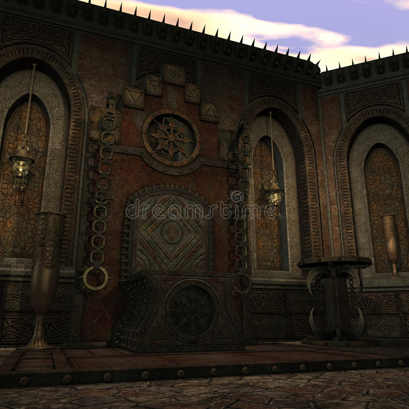 De tempel van de fantasie bij dageraad vector illustratie