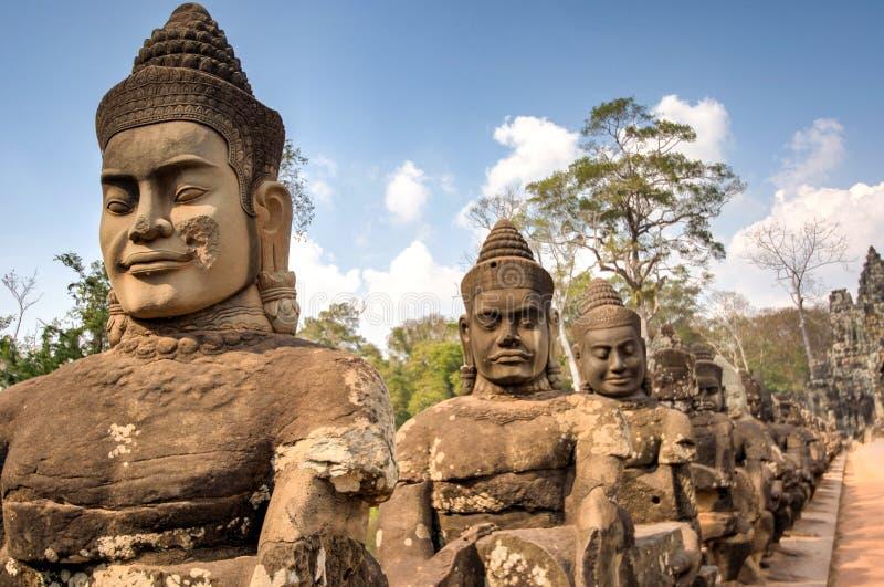 De tempel van de Poortwat van het Angkorzuiden, Siem oogst, Kambodja stock afbeelding