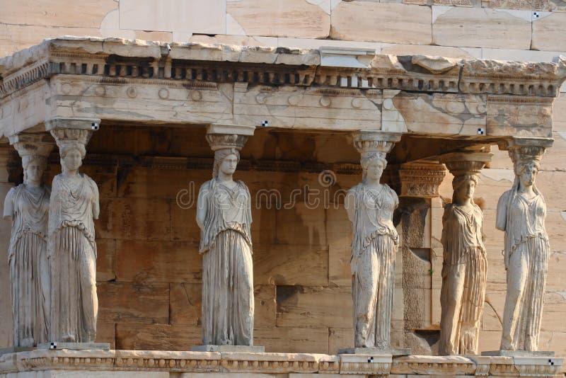 De tempel van Erecthion op akropolis stock afbeeldingen