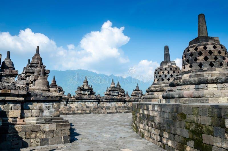 De Tempel van erfenisbuddist Borobudur, Centraal Java, Yogyakarta, stock fotografie