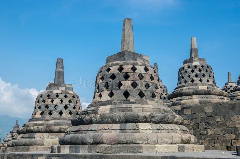 De Tempel van erfenisbuddist Borobudur, Centraal Java, Yogyakarta, Indo stock afbeelding