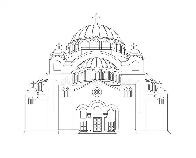 De Tempel van Heilige Sava Vector illustratie Lijnart. voorraad royalty-vrije illustratie