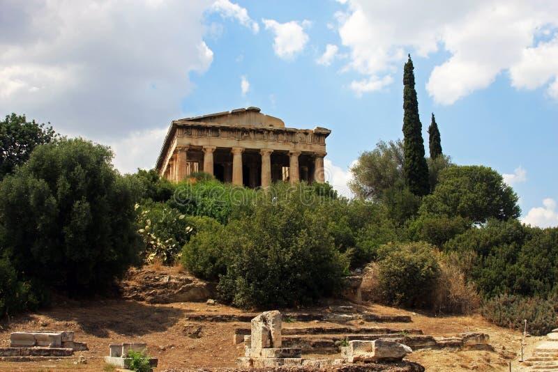De tempel van Hephaestus in Athene stock foto's