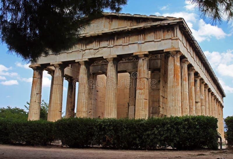 De tempel van Hephaestus in Athene stock foto