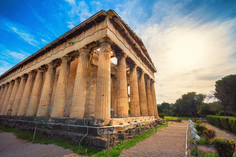 De Tempel van Hephaestus in oud marktagora onder de rots van Akropolis, Athene royalty-vrije stock afbeeldingen