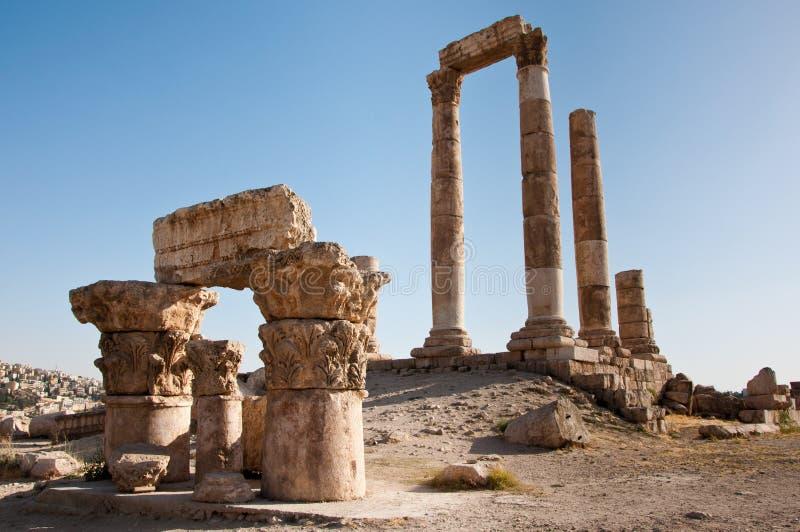 De Tempel van Hercules, Amman Citadel, Jordanië stock afbeelding