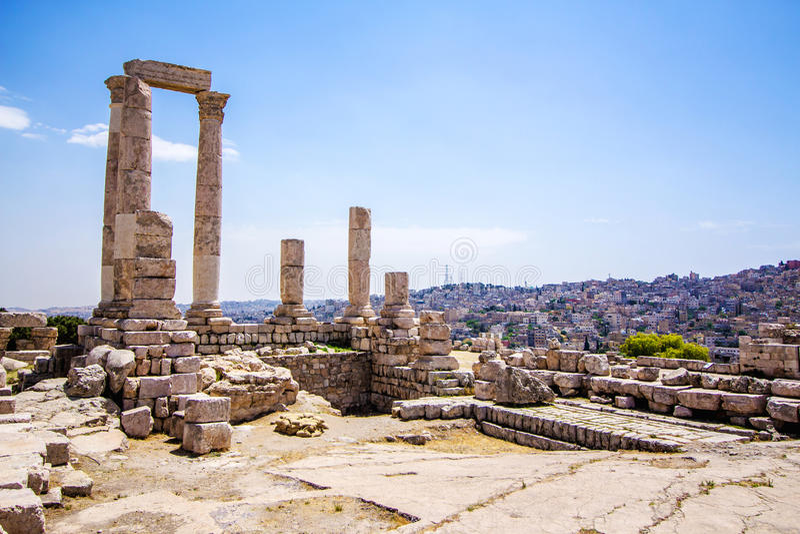 De Tempel van Hercules in Amman, Jordanië stock foto's