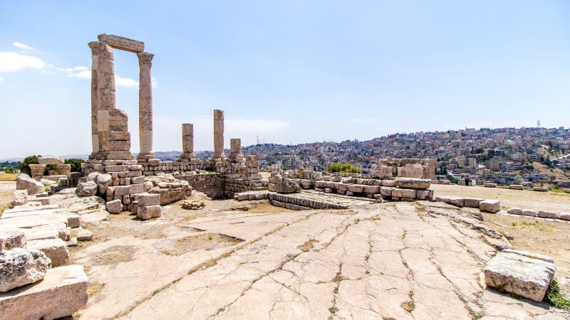 De Tempel van Hercules in Amman, Jordanië royalty-vrije stock afbeelding