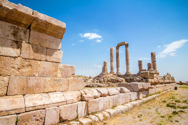 De Tempel van Hercules in Amman, Jordanië stock afbeeldingen