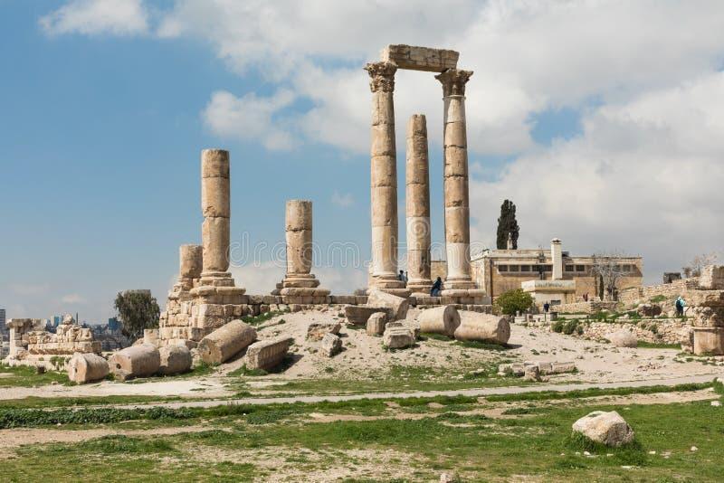De Tempel van Hercules in de Citadel van Amman, Jordanië royalty-vrije stock afbeeldingen