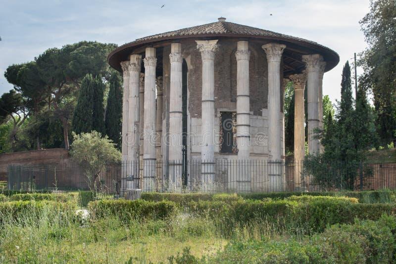 De Tempel van Hercules Victor in Piazza della Verita van Bocca in Rome stock fotografie