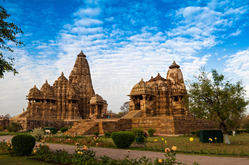 De Tempel van Kandariyamahadeva, Khajuraho, India, Unesco-erfenisplaats stock afbeelding