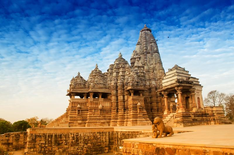 De Tempel van Kandariyamahadeva, Khajuraho, wereld India-Unesco heritag stock fotografie