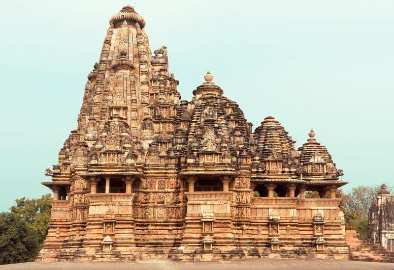 De Tempel van Kandariyamahadeva, structuur van het complex van Khajuraho-Groep Monumenten India royalty-vrije stock foto's