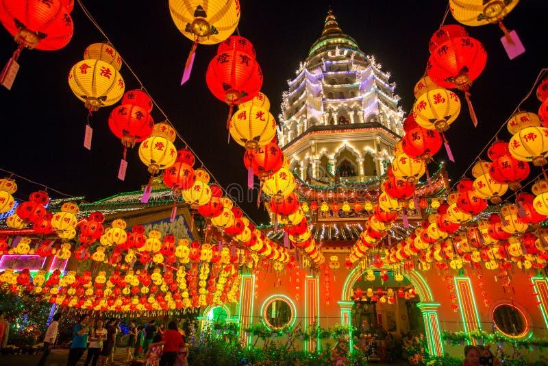 De tempel van Keklok si, Penang, Maleisië tijdens het Chinese Nieuwjaar royalty-vrije stock foto's