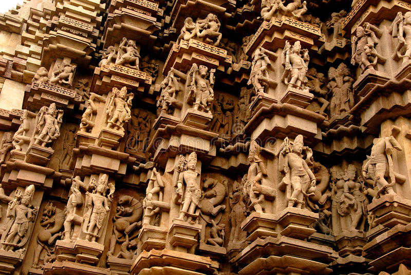 De Tempel van Khajuraho in India stock afbeelding