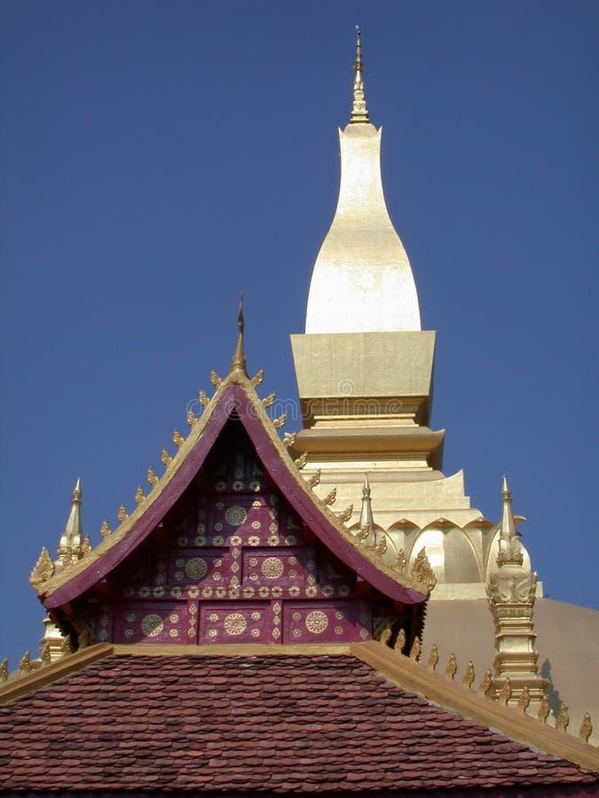 De tempel van Laos van het dak stock afbeelding