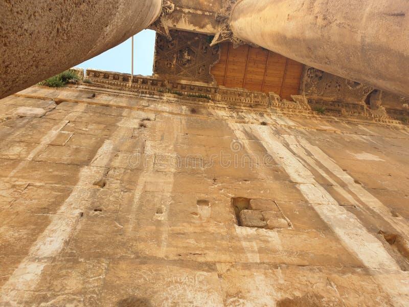 De tempel van Libanon Baalbek van bacchus upview antiquiteit royalty-vrije stock afbeeldingen