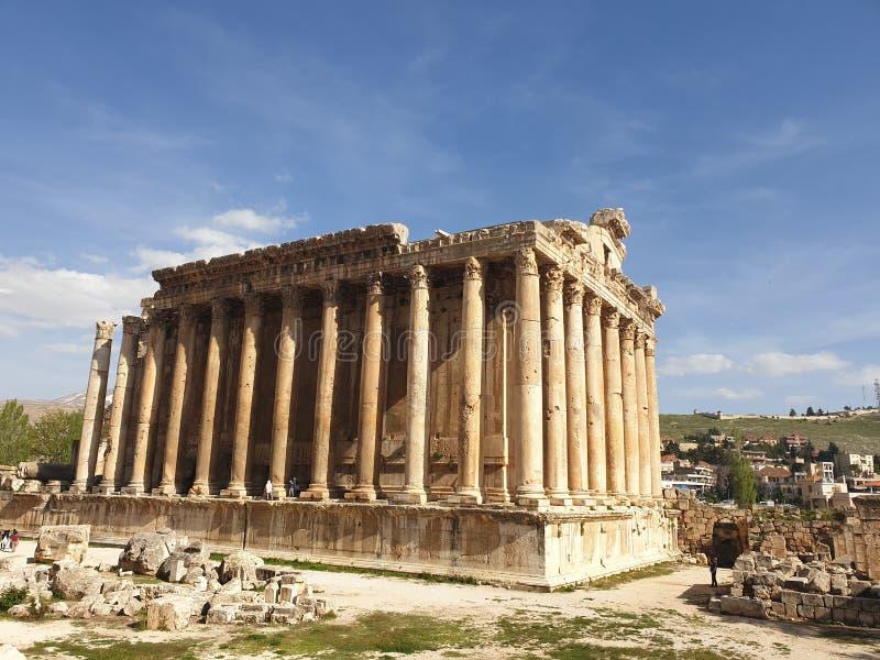 De tempel van Libanon Baalbek van bacchus volledige Ruine buiten zonnige dag royalty-vrije stock foto's