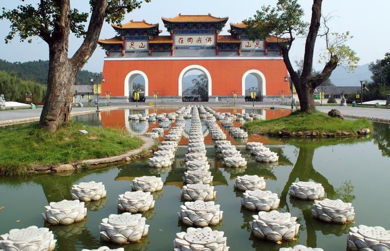 De Tempel van Lingshan in Xinyang China stock afbeelding