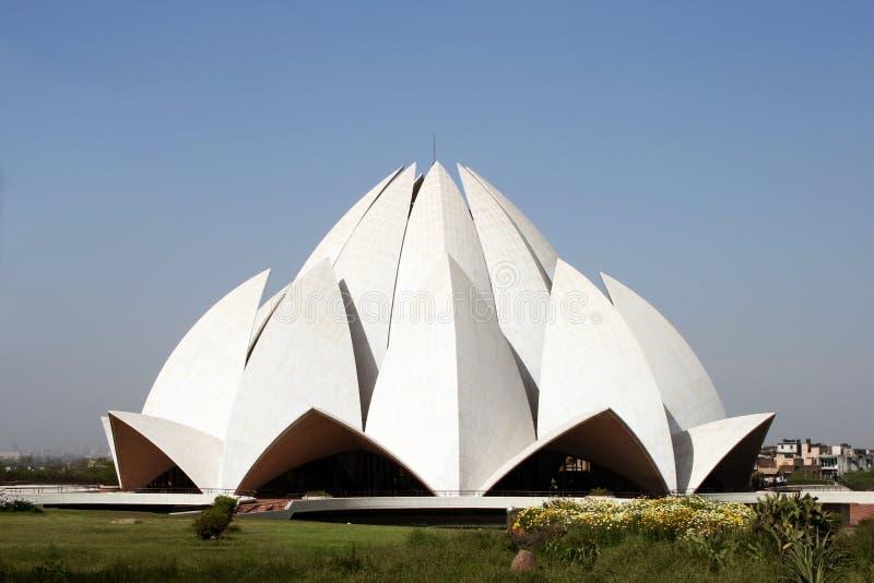 De Tempel van Lotus in New Delhi, India stock afbeelding
