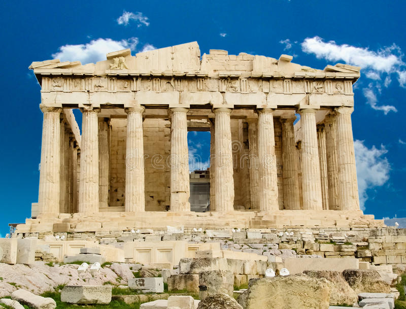 De tempel van Parthenon in Athene royalty-vrije stock fotografie