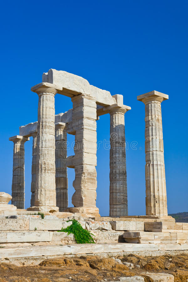 De Tempel van Poseidon bij Kaap Sounion, Griekenland stock foto