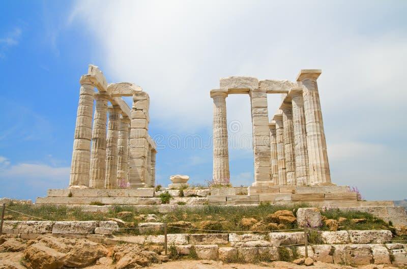 De Tempel van Poseidon - voorzijde royalty-vrije stock fotografie