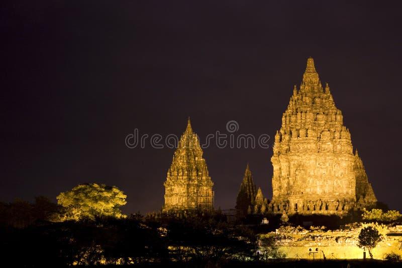 De Tempel van Prambanan bij Nacht, Yogyakarta, Indonesië royalty-vrije stock foto's