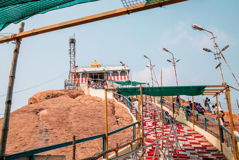 De tempel van Rockfortthayumanaswami in Tiruchirappalli, India stock foto