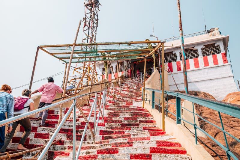 De tempel van Rockfortthayumanaswami in Tiruchirappalli, India stock afbeeldingen