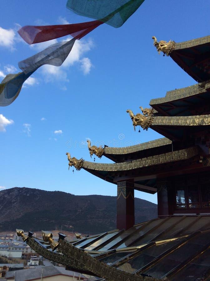 De tempel van Tibet in Shangrila-stad, China stock afbeelding